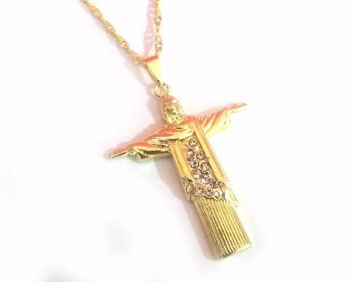 Cordão Corrente Cristo Redentor Folheado A Ouro 18k - MILENA JOIAS ... 189b53421e
