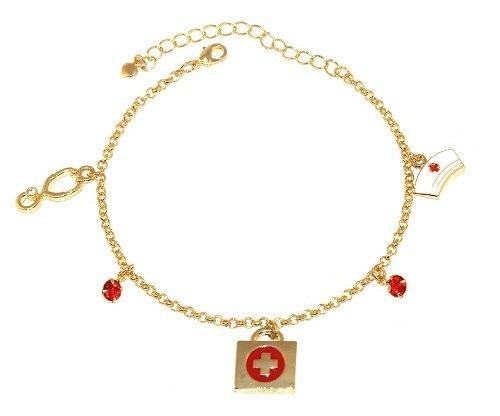 b9f8bb4992609 Pulseira Profissões Enfermagem Enfermeira Folheado Ouro - MILENA ...