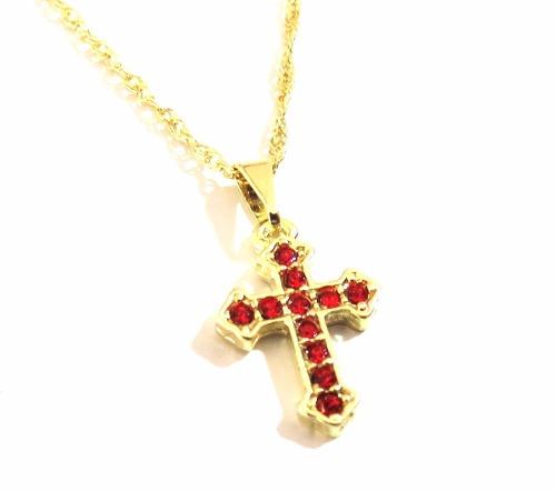 Colar Cruz Crucifixo Pedras Vermelha Folheado A Ouro 18k