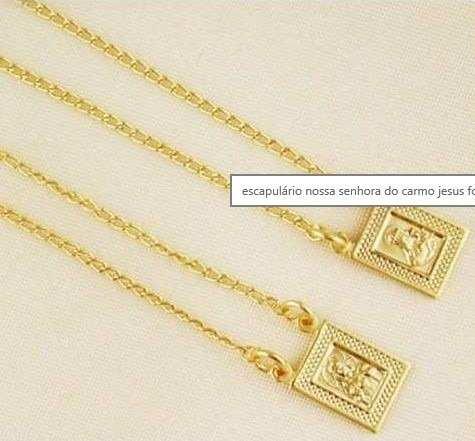 1 Escapulario E 1 Corrente Cartier Folheado A Ouro 18k