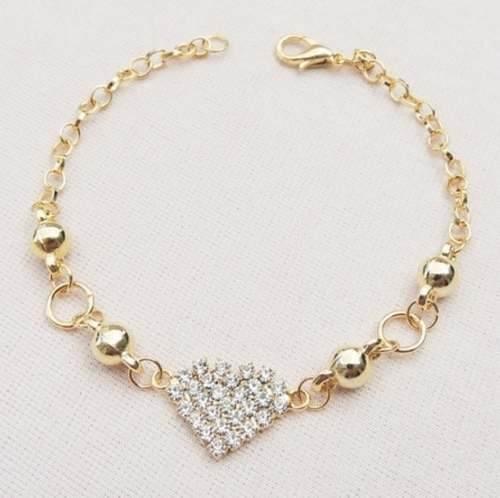 10 Pulseira Coração Strass Lembrança Madrinhas Folheado Ouro