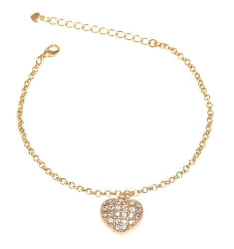 25 Pulseiras Coração Grande Cristal Folheada A Ouro 18k.