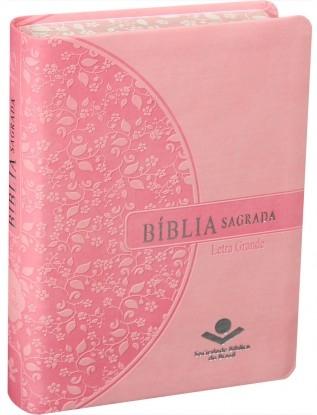 BÍBLIA RA LETRA GRANDE - BORDA FLORIDA ROSA