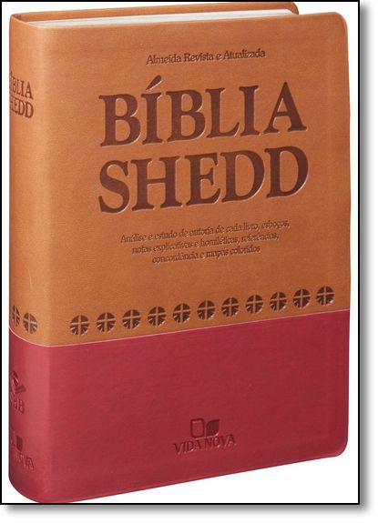 BÍBLIA DE ESTUDO SHEDD MARROM VERMELHO