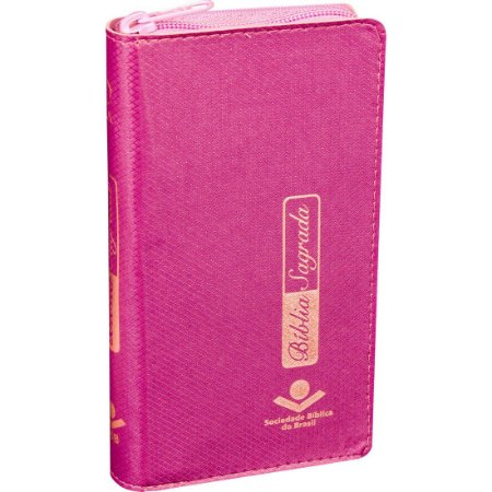 BÍBLIA CARTEIRA ZÍPER PINK