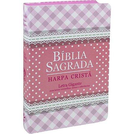 BÍBLIA HARPA CRISTÃ GIGANTE SEMIFLEXÍVEL - ROSA
