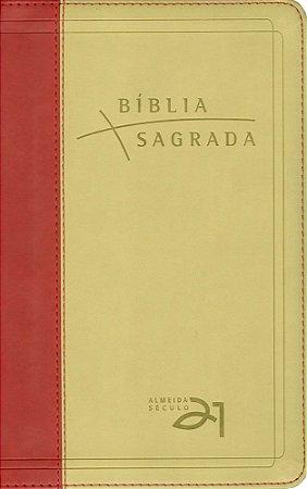 BÍBLIA A21 LUXO - VERMELHA/AREIA C/REFERÊNCIAS CRUZADAS