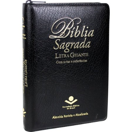 BÍBLIA LETRA GIGANTE RA COM ZÍPER PRETA