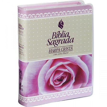 BIBLIA COM HARPA CAPA COURO BONDED - ROSA