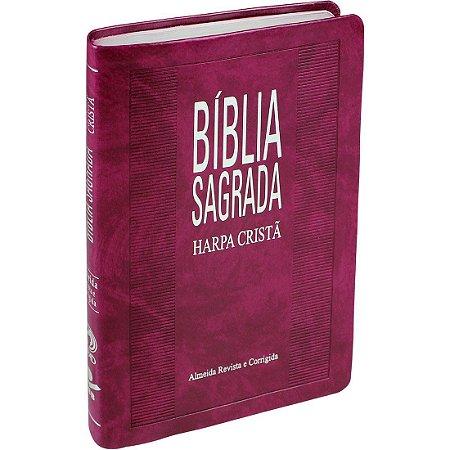 BÍBLIA COM HARPA PURPURA NOBRE