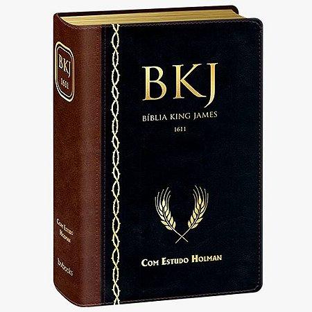 BIBLIA KING JAMES ESTUDO HOLMAN MARROM / PRETA