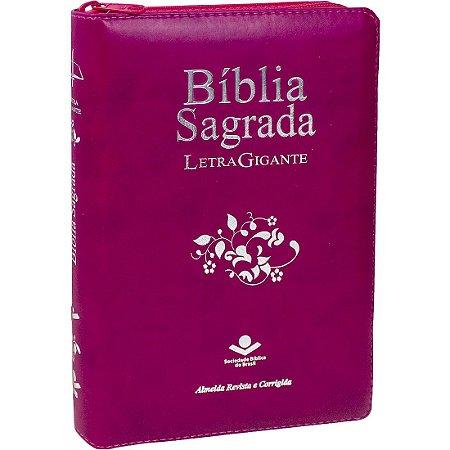 BÍBLIA RC LETRA GIGANTE COM ZÍPER E ÍNDICE PINK