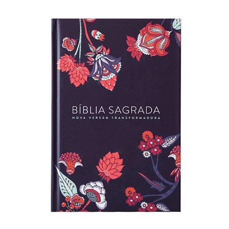 BÍBLIA NVT INDIAN FLOWERS AZUL MARINHO