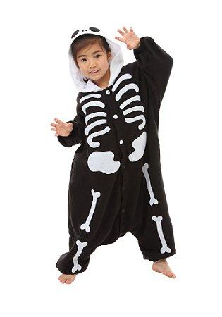bd6810b5a37b8a Esqueleto Caveira Preta Pijama Kigurumi Fantasia