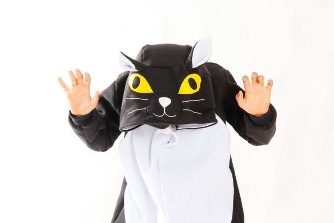 Gatinho Preto Pijama Kigurumi Fantasia Gato