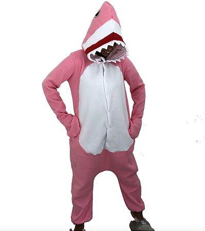 Bebê Tubarão Rosa Pijama Kigurumi Fantasia