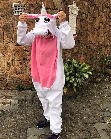 Unicórnio com Asas Branco e Rosa Pijama Kigurumi Fantasia