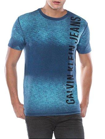 Camiseta Calvin Klein Logo Horizontal Índigo