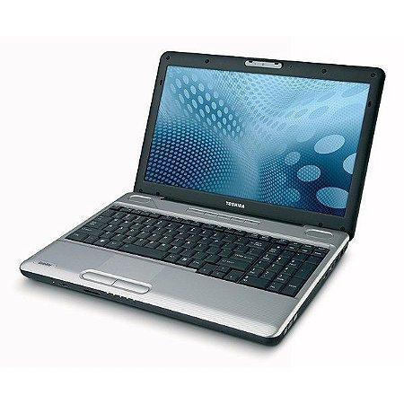 """Notebook usado, Toshiba Satellite, DualCore, 2.20GHz, 3GB, HD320GB, 15.6"""", Leitor CD/DVD, Win10, Bateria não segura carga."""