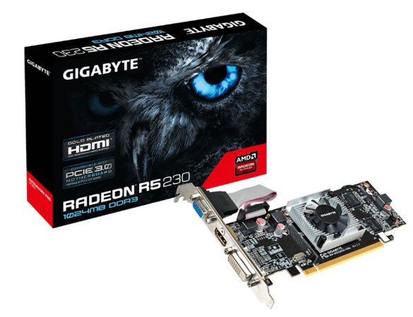 Placa de Vídeo para PC, Gigabyte, AMD Radeon R5 230, 1GB, DDR3 GV-R523!