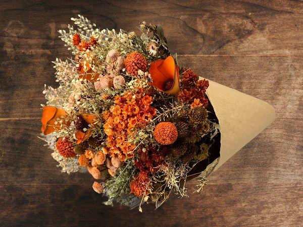 Bouquet de Flores Variadas Secas Laranja