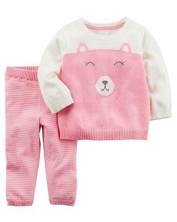Conjunto 2 peças Carter's Sweater Pink  Bear