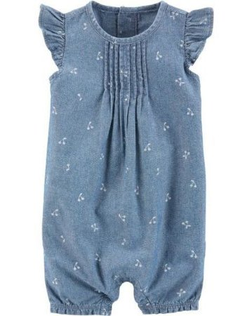 Romper Carte'rs Chambray Snap-Up Cotton