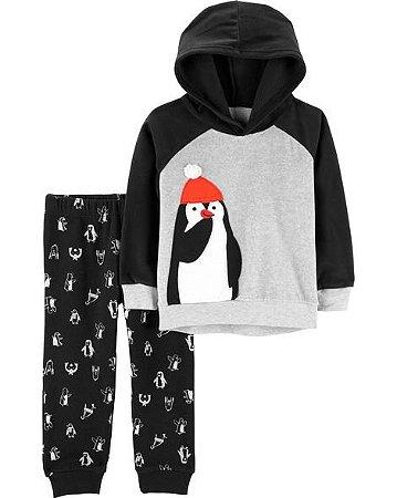 Conjunto 2 Peças  Carters Calça e Cardigam Com Capuz - Penguin