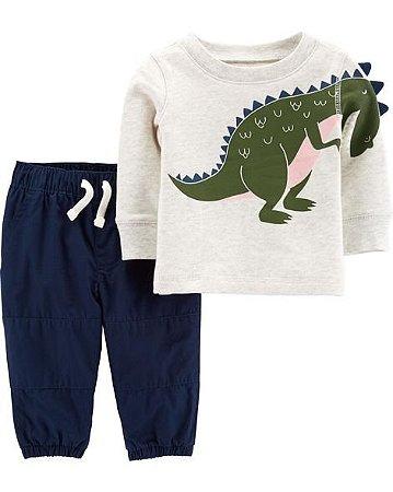 Conjunto 2 peças carters calça e blusa manga longa - Dinosaur