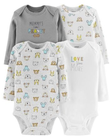 kit Body 4 Peças Carters Manga Longa -  Long Sleeve Animals
