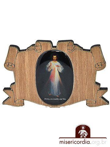 IMÃ MADEIRA PERGAMINHO JESUS MISERICORDIOSO