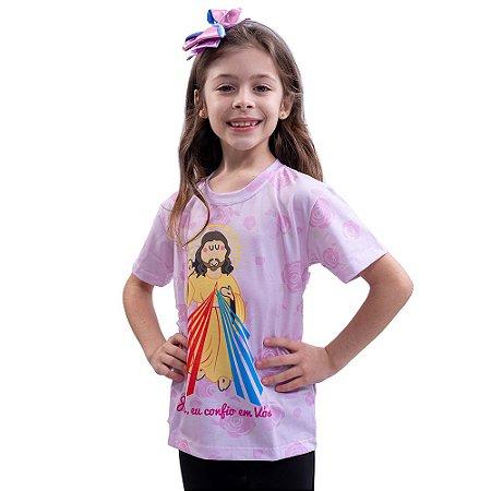 CAMISETA INFANTIL JESUS MISERICORDIOSO - ROSA