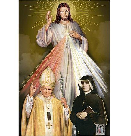 PÔSTER JESUS MISERICORDIOSO, SÃO JOÃO PAULO II E SANTA FAUSTINA
