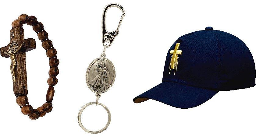 pulseira São bento (madeira)  Chaveiro de Jesus + Boné Cruz