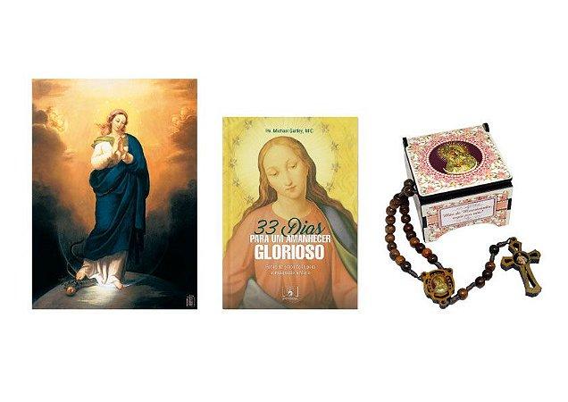 Livro 33 Dias com Maria, Pôster Imaculada Conceição, Terço Imaculada Conceição
