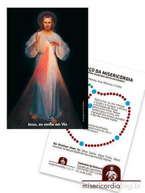 SANTINHO DE JESUS MISERICORDIOSO COM TERÇO NO VERSO - PRIMEIRA IMAGEM