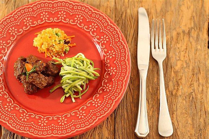 MENU 7 - Picadinho de carne, cuscuz de quinoa e espaguete de abobrinha - 300g