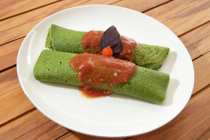 Panqueca integral de espinafre com frango - 2 und
