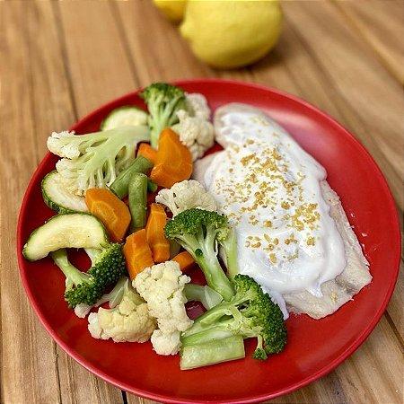 Saint Peter ao molho de limão siciliano e mix de legumes - 250g