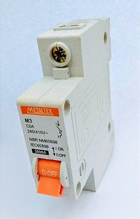 Disjuntor 6A Monopolar Curva C METALTEX