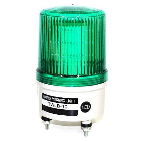 Sinalizador EMERGÊNCIA Rotativo LED+BUZZER - 220VCA - VERDE TWLB-10L2G METALTEX