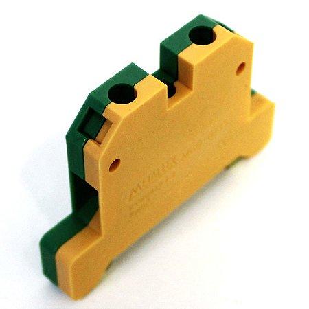 CONECTOR TERRA 6MM COM CAPA P/ TRILHOS TS35 E TS35 - VERDE/AMARELO MGB6/35