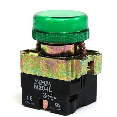 SINALEIRO LED 22MM - 220V - VERDE M20PR-G