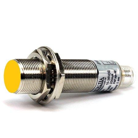 SENSOR INDUTIVO FACEADO M18 - SN: 5MM - NPN C/ CONECTOR M12 - 1NA + 1NF I18-5-DNC-K12