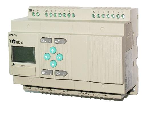 rele programavel 12E8S saida a relé, alimen. 100 a 240VAC, display LCD **sem botoes frontais, calendario e relogio, não  ZEN-20C3AR-A-V2