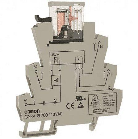acoplador a rele / 6A/ 1NAF/ 110VAC/ parafuso/ LED  G2RV-SL700 AC110