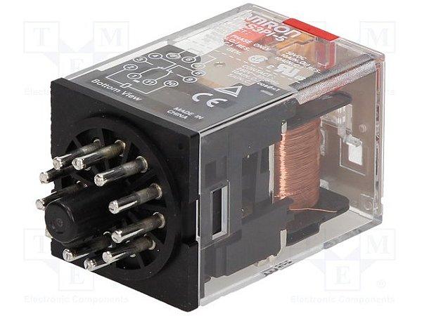 RELE 11 PINOS 3PDT, C/LED, IND.MECANIC.  MKS3PIN-5 AC110
