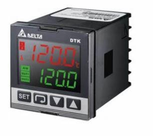 Controlador de temperatura DTK com Largura 48mm e Altura 48mm com 1 saída de Tensão 12Vdc Pulsada e 2 saída de Alarme DELTA DTK4848V02