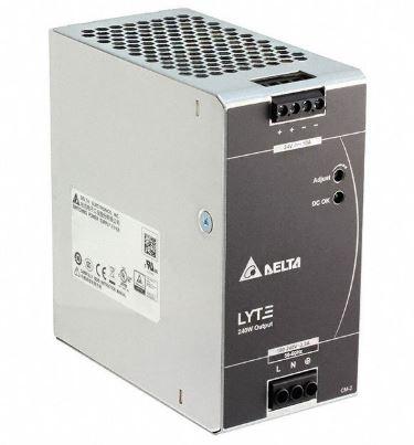 Fonte de alimentação com tensão de entrada 85~264Vac monofásica e tensão de saída 24Vdc - potência de saída 240W (10A) montado em caixa de Alumínio DELTA DRL-24V240W1AA
