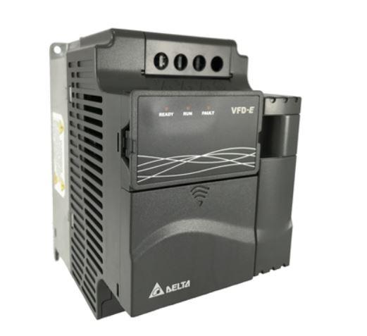 Inversor de Frequência 5CV (3,7KW) - Modelo E - 220 Volts - Trifásico - Driver Padrão - Transistor de Frenagem incorporado para variação de velocidade de motores elétricos. DELTA VFD037E23A